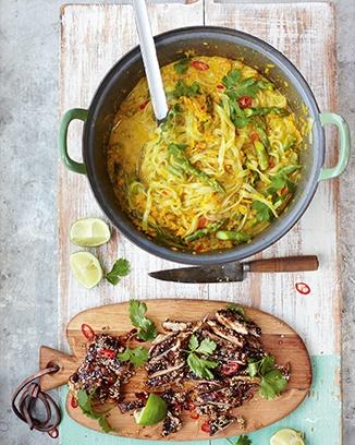Thai chicken laksa, mildly spiced noodle squash broth