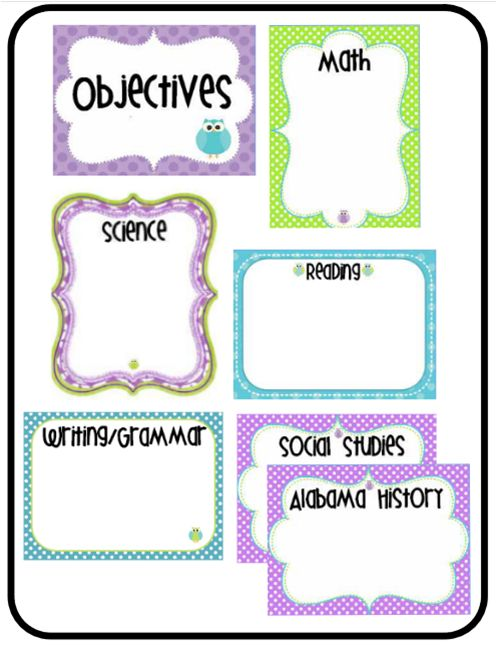 Great FREE Printable Objective Posters for the Dollar Store Frame DIY Dry Erase Project