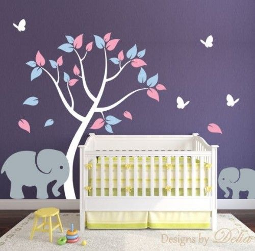Nursery Tree Decal with Elephant Child Elephant and Butterflies - http://babyfur.net/nursery-tree-decal-with-elephant-baby-elephant-and-butterflies/