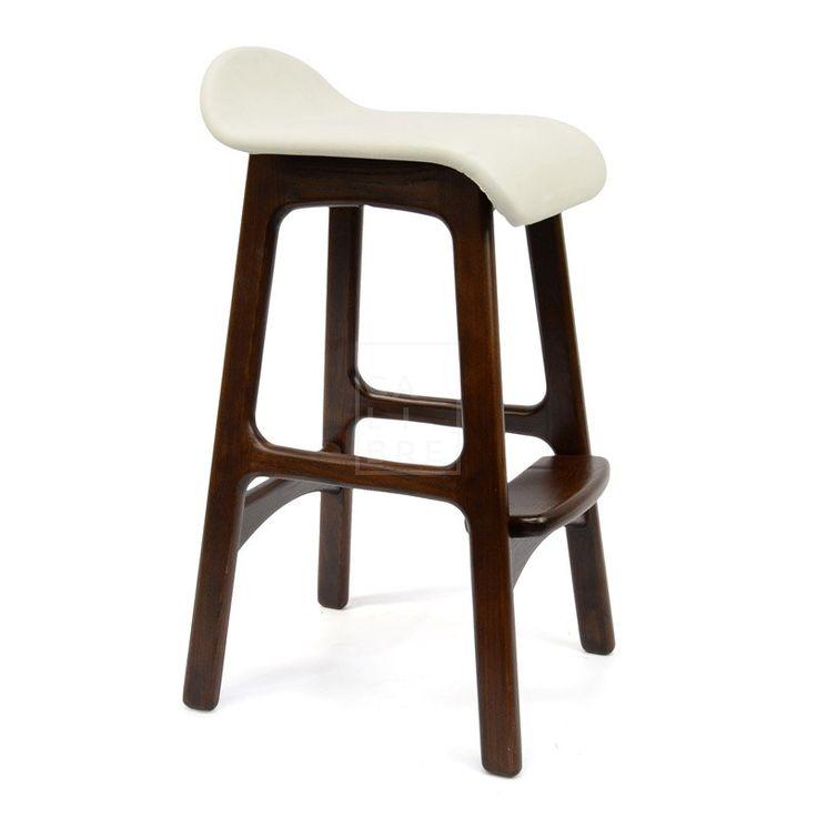 Calibre - Bar Stool - Erik Buch Replica - White Seat - Walnut