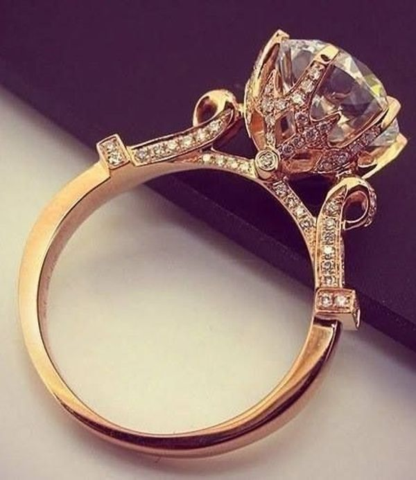 vintage subió anillos de compromiso de la boda de diamante de oro