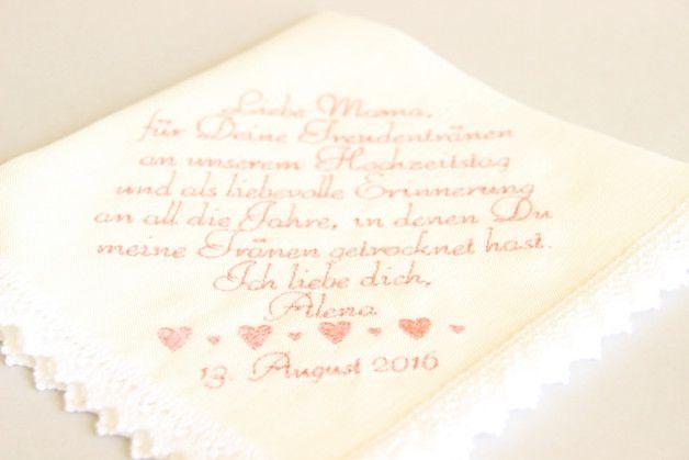 Dieses angepasste Hochzeitstaschentuch ist das perfekte Geschenk von der Braut bei der Hochzeit - der Braut- / Bräutigammutter, dem Vater der Braut / des Bräutigams, den Großeltern, der Schwester /...