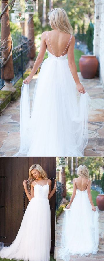 Beach Bridal Gowns,White Backless Beach Wedding Dresses,Long Wedding Dresses, #Beachweddingdress #Tullewhiteweddingdress
