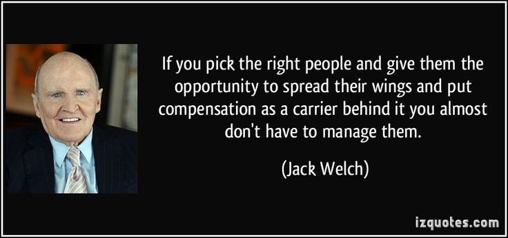 If you pick the right people and give them the opportunity to spread their wings and put compensation as a carrier behind it you almost don't have to manage them. (Jack Welch) #quotes #quote #quotations #JackWelch