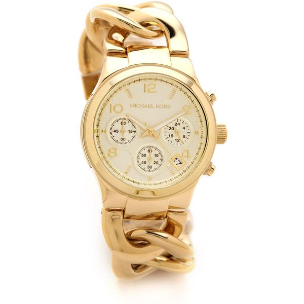 Michael Kors Runway Twist Watch ($260) ❤ liked on Polyvore featuring jewelry, watches, accessories, gold, oversized watches, oversized chronograph watch, gold chronograph watch, chronos watch and gold jewellery