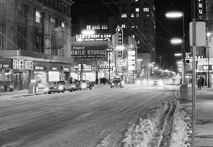 Snow and sub-freezing temperatures accompanied by high winds left this downtown street in Dallas, Texas almost deserted Jan. 10, 1962. (AP Photo/Ferd Kaufman)