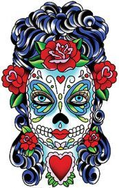 Sunny's new Butterfly Eyes sugar skull - mysterious, beautiful and not of this world! Weather resistant, extra long lasting die cut sticker, printed on transparent backing. Beautiful on windows or ANY