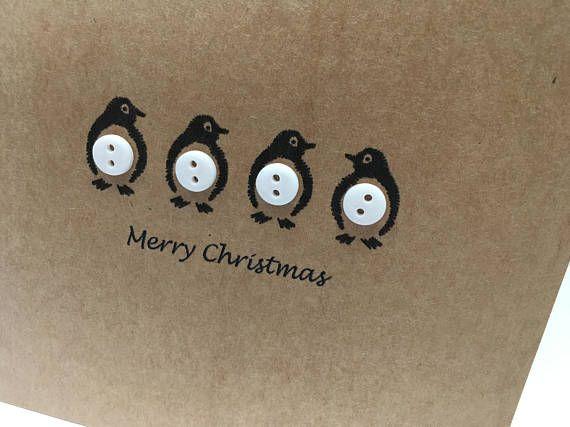 Penguin Christmas Card – Penguin Card – Buttons – Cute penguins – Penguin Card – Handmade – Pack of Christmas Cards – Christmas Card Set