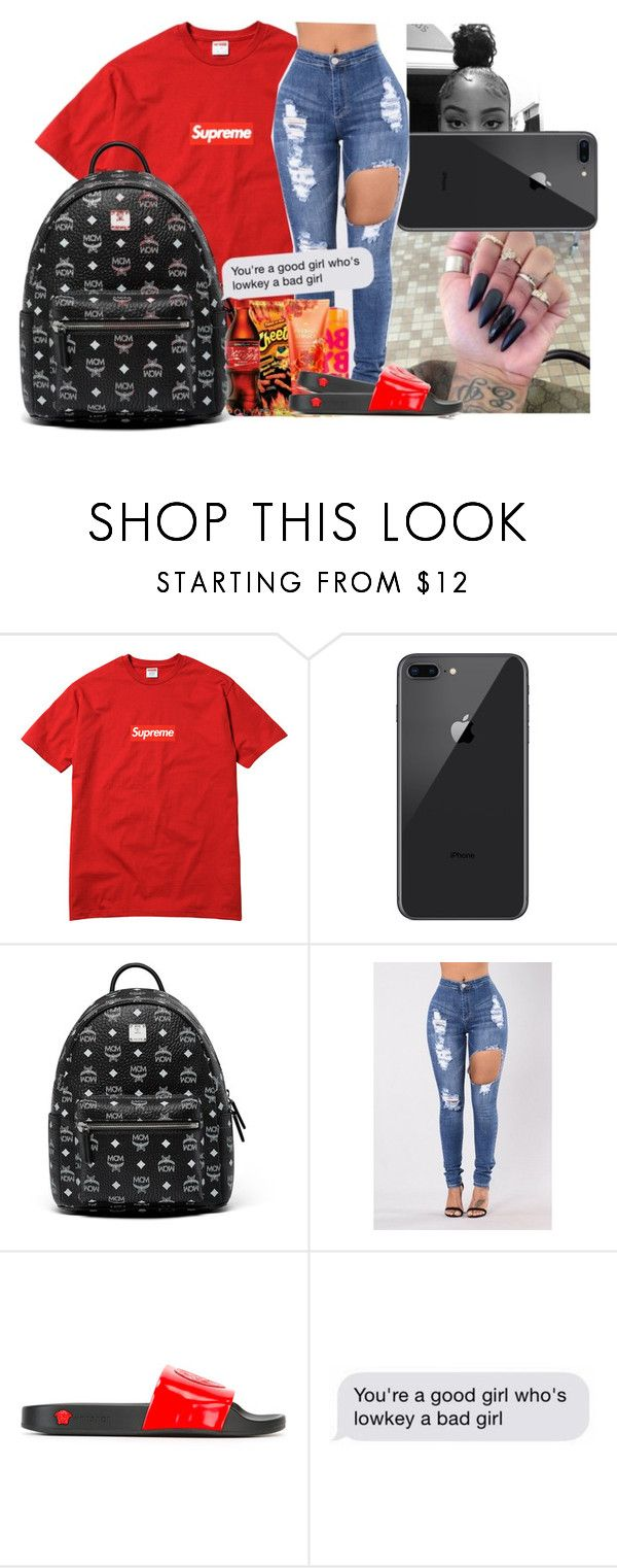 """O1."" by theykraveekayy ❤ liked on Polyvore featuring Champion, MCM and Versace"