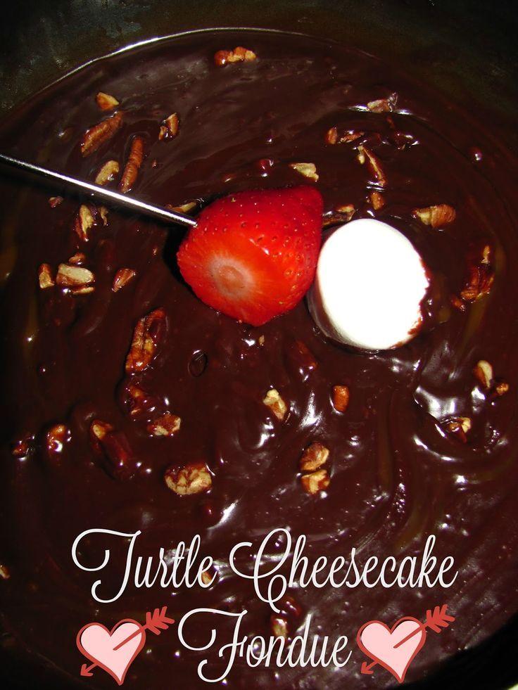 Decadent Turtle Cheesecake Fondue for Valentine's Day