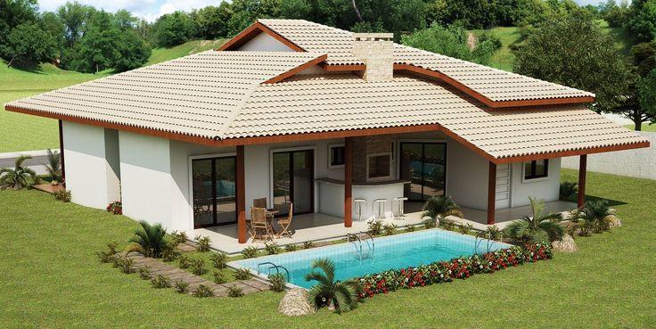 Projeto de casa térrea de 3 quartos com 111,02m²