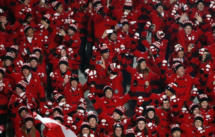 Canada's athletes march during the athletes' parade during the opening ceremony of the 2014 Sochi Winter Olympics, February 7, 2014.