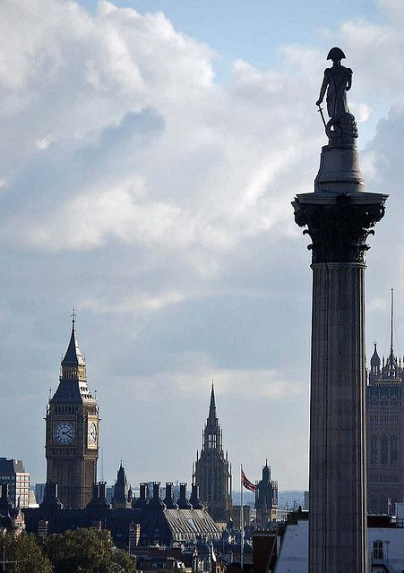 Palace of Westminster and Nelson's Column - London, UK