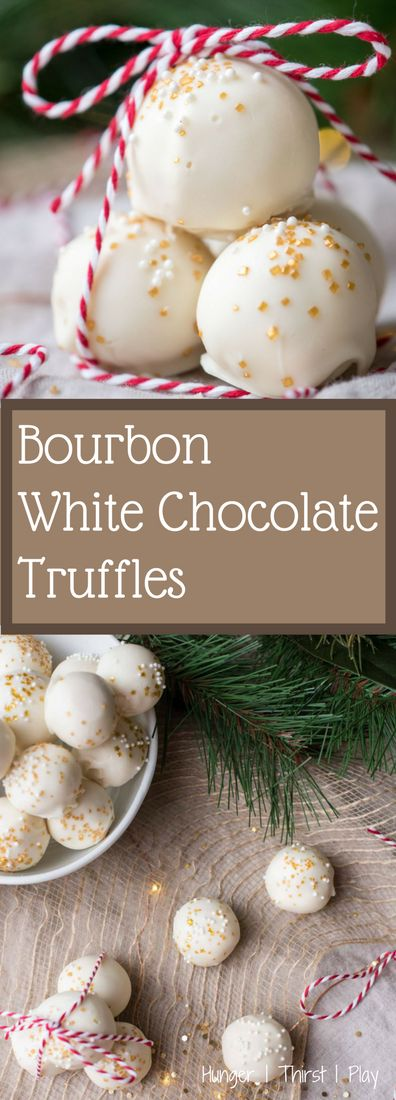 Bourbon White Chocolate Truffles | Creamy, rich chocolate center laced with smokey vanilla and caramel flavors of bourbon wrapped in a crunchy chocolate shell.