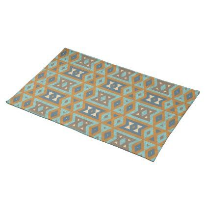 Teal Turquoise Orange Brown Eclectic Ethnic Look Cloth Placemat - vintage gifts retro ideas cyo
