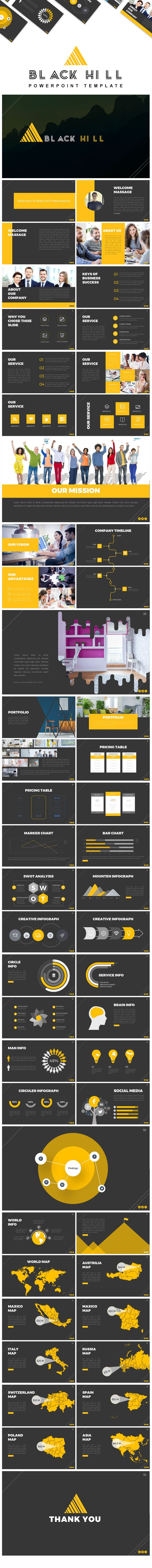 Black Hill Presentation PowerPoint Template
