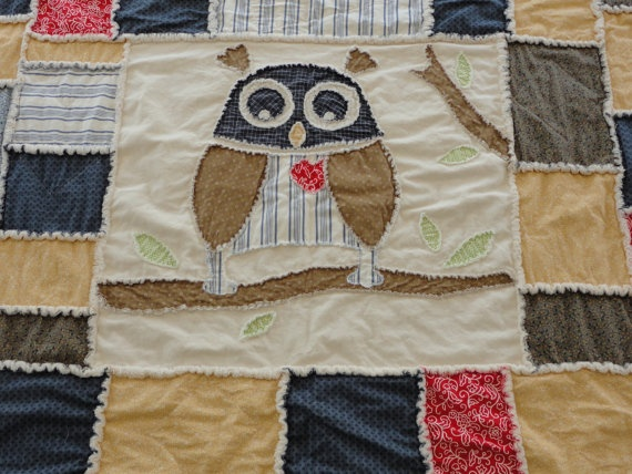 love this owl rag quilt by Snip It Up