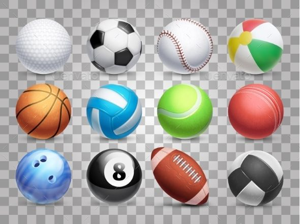 Realistic Sports Balls Vector Big Set Isolated Sports Balls Birthday Party Crafts Sports
