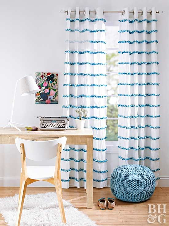 Give plain curtains a cheery boost by attaching rows of colorful pom-pom trim.