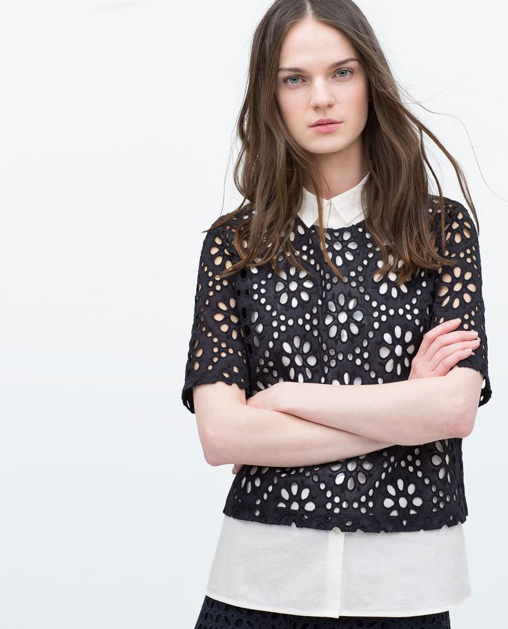 Image 2 of CUT WORK TOP from Zara