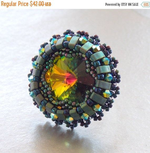 Check out Spring sale Bead embroidery, ring, Seed bead ring, Trending style, Green, Blue, Swarovski, Peacock, on vicus