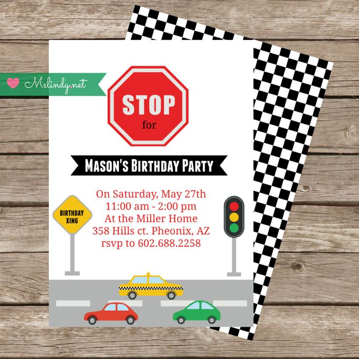 """Car Birthday Invitation with Coordinating Traffic Signs and FREE Treat Bag Toppers!  Transportation """"Print and Party"""" by MelindyDesigns on Etsy"""