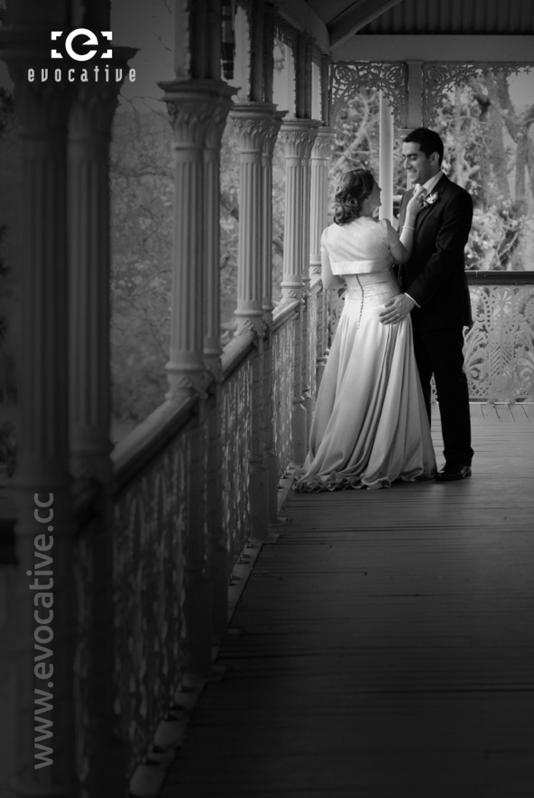 Classic romance on the verandah of the Mansion at Woodlands of Marburg. #WeddingPhotography