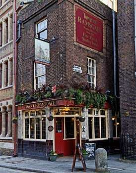 Town of Ramsgate in London, is the oldest pub on the River Thames, circa 1469. Situated in Wapping this was the pub where Judge Jeffries (the hanging judge) was arrested trying to flee to the continent.