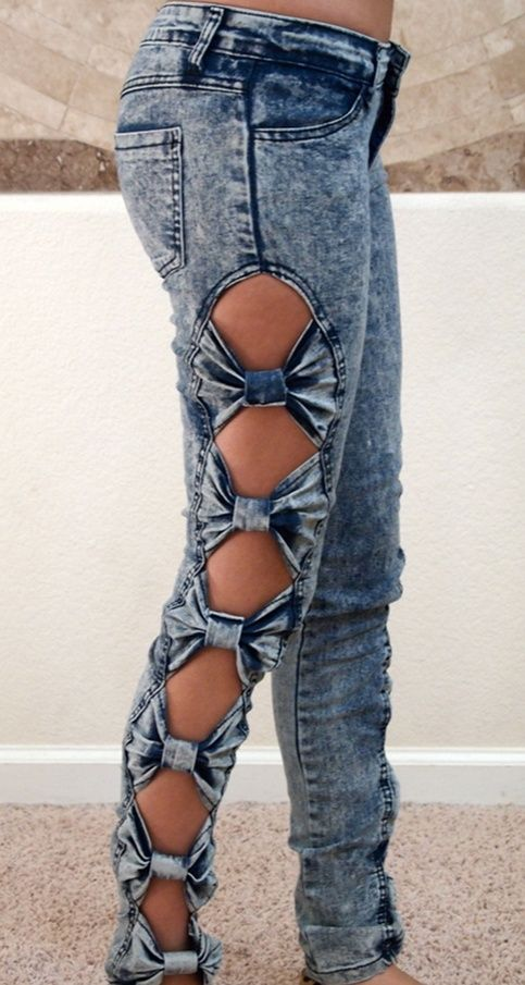 Bow jeans, DIY, clothes, cute, awesome