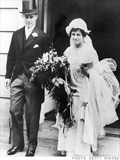 "Joseph P. Kennedy & Rose Fitzgerald on their wedding day, Oct. 7, 1914. They married after a courtship of more than seven years. He was the elder son of Patrick Joseph ""P. J."" Kennedy, a political rival of her father Honey Fitz, and Mary Augusta Hickey.  http://features.blogs.fortune.cnn.com/2011/04/10/joseph-p-kennedy-a-portrait-of-the-founder/"
