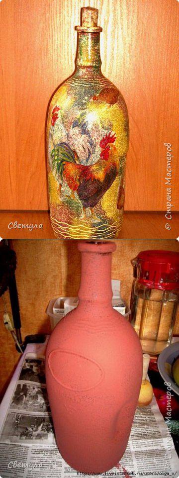 Clase magistral de Svetlana. Decoupage y botellas y tablas pintadas.