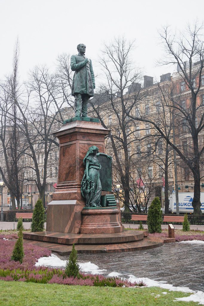Helsinki, January 2015 The statue of Johan Ludvig Runeberg.
