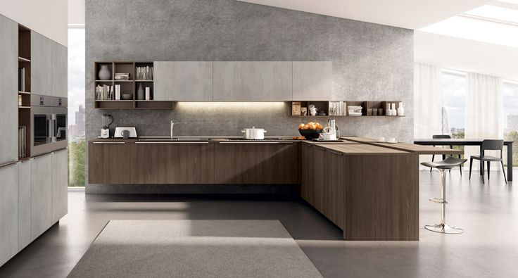 Lain Multisystem - A warm cosy atmosphere with the strong texture of the original TSS thermostructured cement finish matched with elm cortex NT.