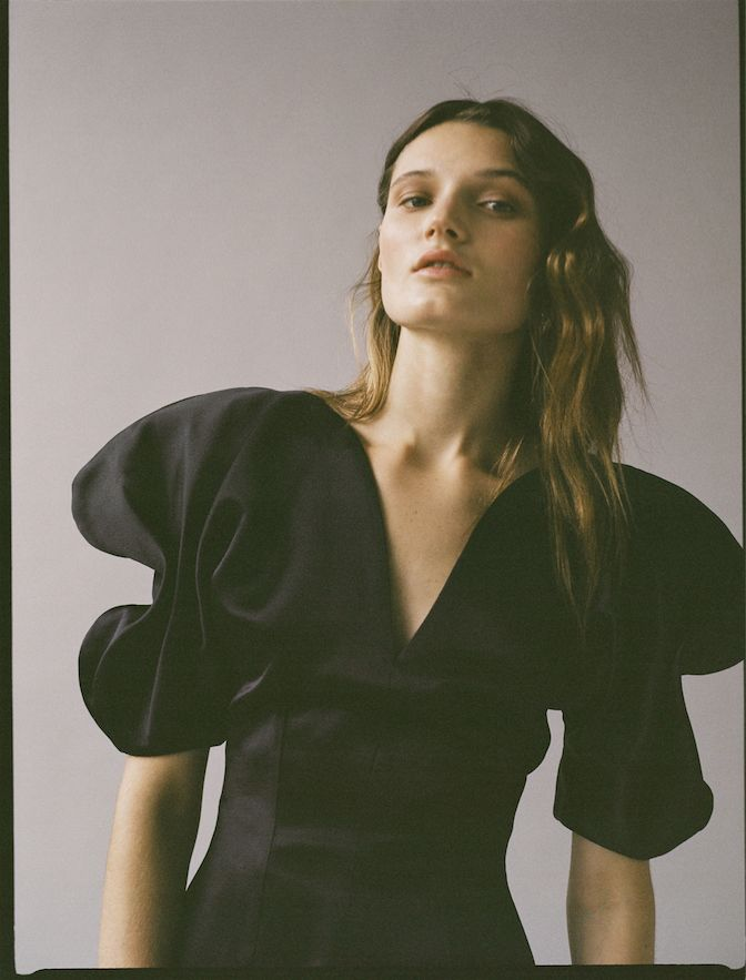 Editorial - Because The Night - Silk, ruffles, tuxedo details and statement shoes for moments after dark. - Photography Tiffany Nicholson; Stylist Rachael Wang; Hair Osmane; Makeup; Katie Mellinger