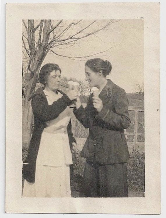 Old Photo Women Eating Ice Cream Cones Photograph by girlcatdesign, $8.00
