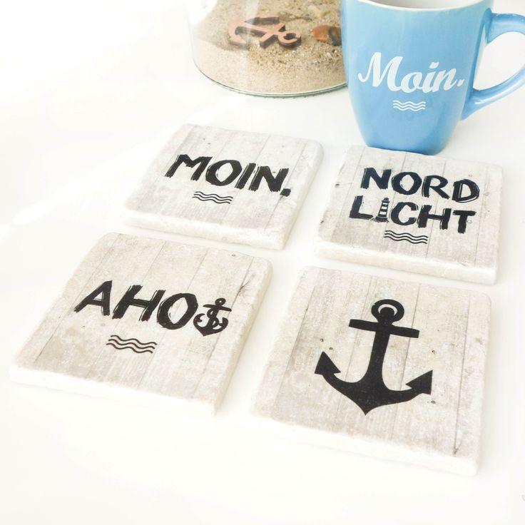 Maritime Dekofliesen (10x10cm) von HEIMATMEER als Untersetzer oder Dekoration zum Hinstellen mit maritimen Motiven MOIN, NORDLICHT, AHOI & ANKER >>