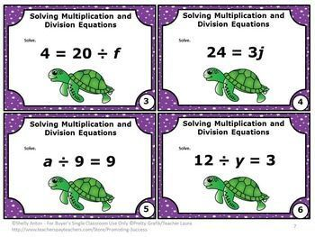 FREE Download Algebra Multiplication and Division Equations Task Cards: You will receive 6 Common Core task cards with a mix of multiplication and division math expressions for 6th grade. Task cards are a wonderful break from worksheets.  Student can play SCOOT, have a scavenger hunt or play other games. Try them for free today. A student response form and answer key are also provided.    CCSS.MATH.CONTENT.6.EE.A.2