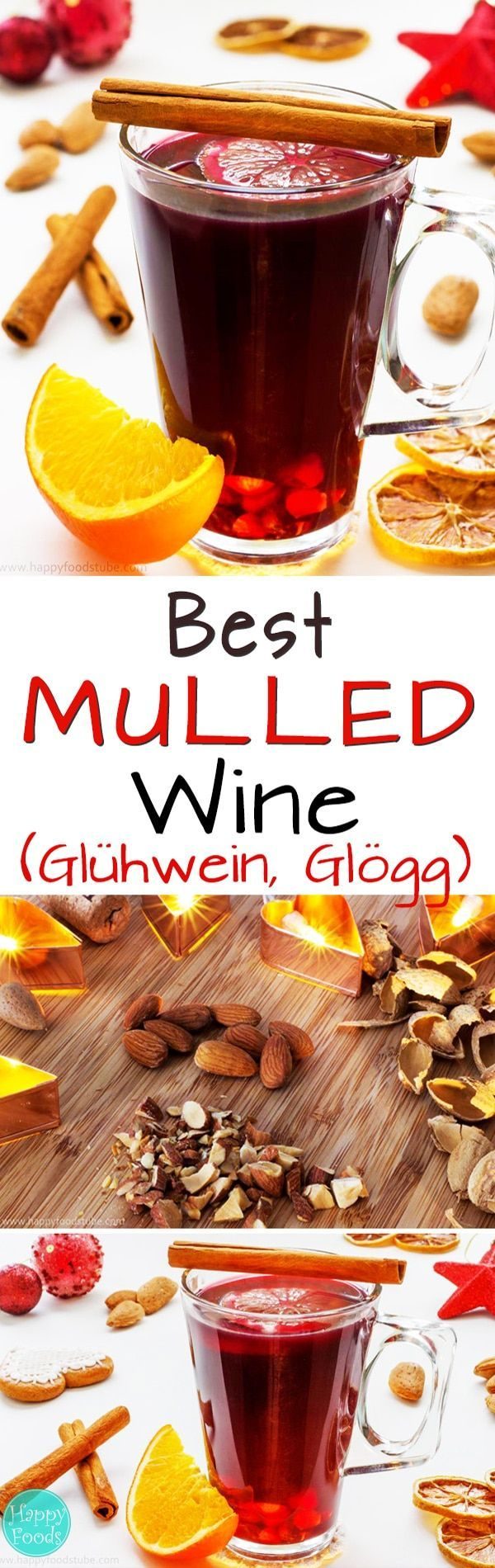 Mulled Wine (Glühwein, Glögg) is a typical winter drink. It's made of red wine to which mulling spices, sugar, citrus & raisins. Best Christmas drink recipe. #mulledwine #howtomake #winterdrinks #drinks #holidaydrinks #christmasdrinks #holidaypunch #glögg #glögi #glühwein #vinchaud #vinfiert via @happyfoodstube
