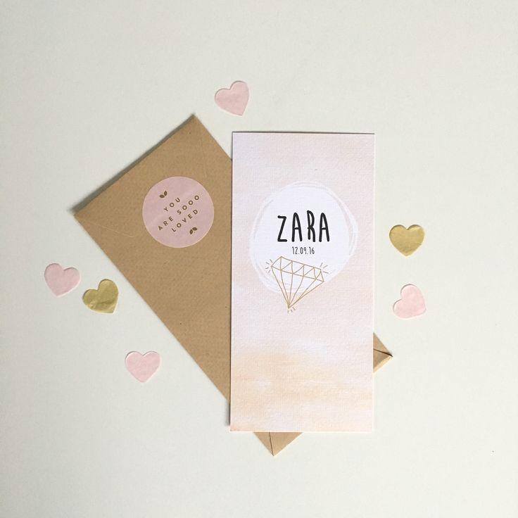 Lief geboortekaartje met watercolor achtergrond en gouden diamantje www.zojoann.nl  #babygirl #geboortekaartje #newborn #baby #birthannouncement #geboortekaart