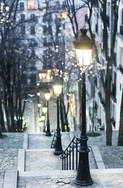 Paris at Night, Street Lamps, Montmartre, French Home Decor, Large Wall Art