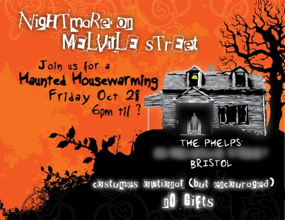 Since we are closing on the house in the beginning of October, Housewarming/Halloween Party! I love these invites!