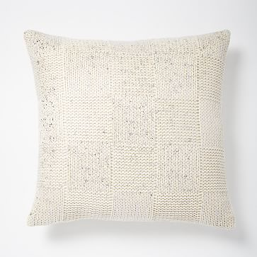 Gilded Square Textured Pillow Cover - Ivory/Silver #westelm