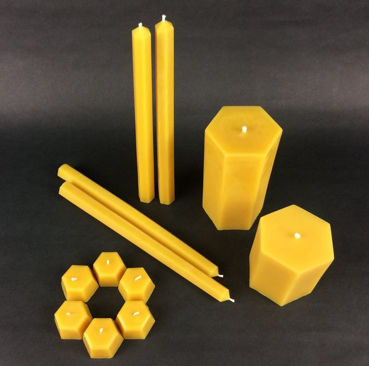 """Our Hexagon Candle Set makes for a perfect Christmas gift or simply a beautiful, and natural candle gift. This raw beeswax candle set includes four tapers, two pillars, and six tealights. Our """"Hexagon"""