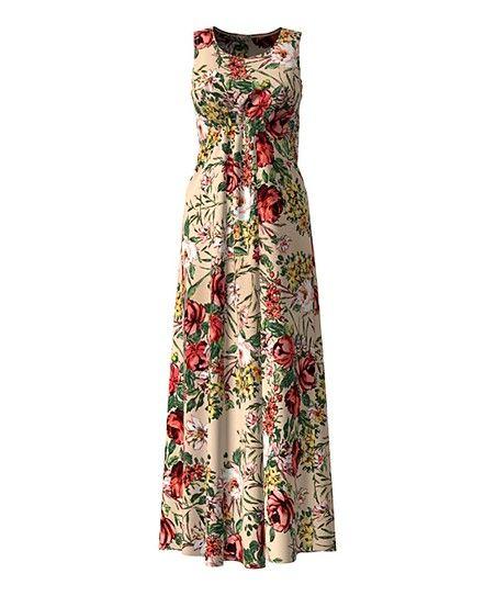 5b3137c6637 Blush   Pink Floral Front-Ruched Maxi Dress - Women   Plus
