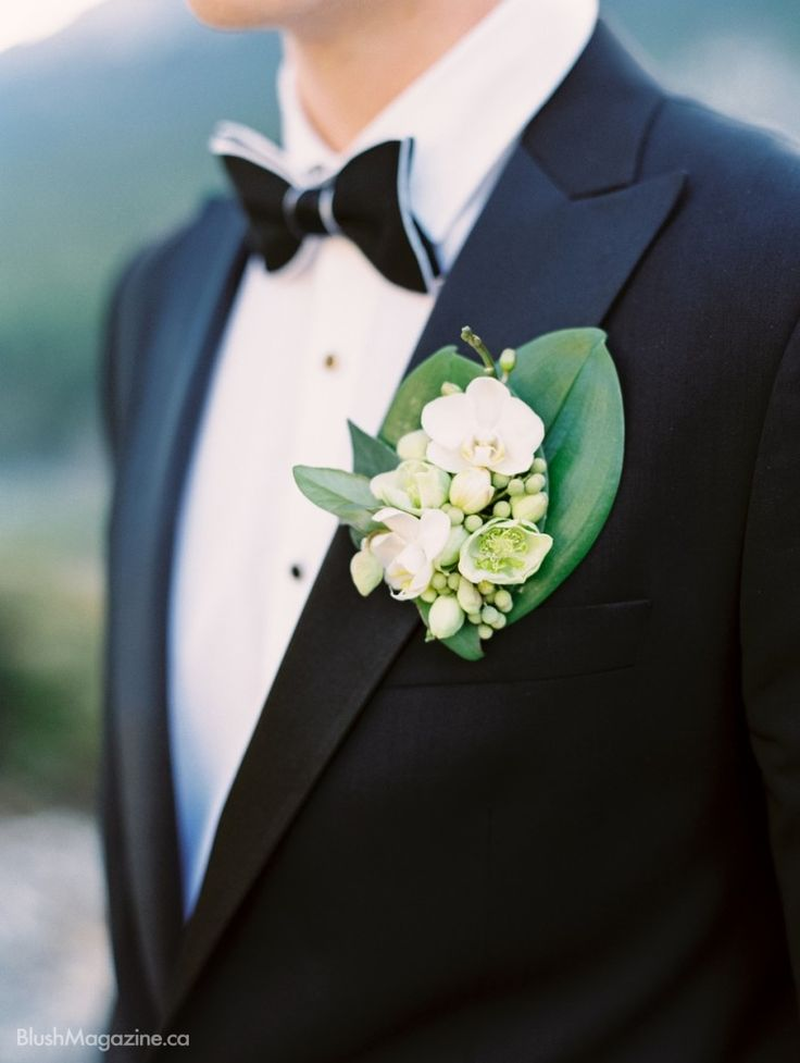 Stylized Wedding Shoot at Fairmont Banff Springs. Boutonniere, Green Boutonniere, Orchid, Orchid Boutonniere