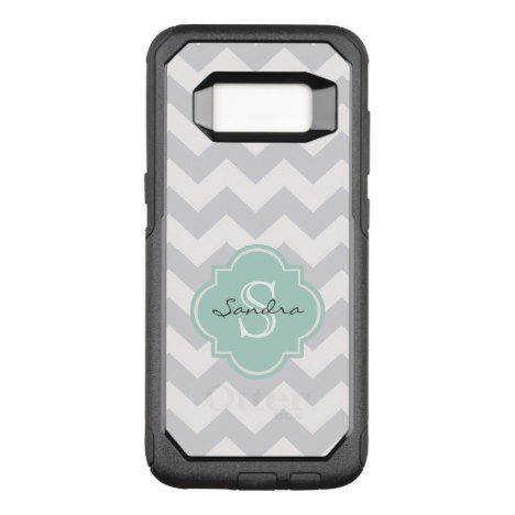 Gray White Mint Chevron Pattern Monogram | Name OtterBox Commuter Samsung Galaxy S8 Case #chevron #samsung #galaxys8 #cases #protect
