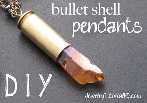 Bullet shell jewelry is all the rage these days, and it's no wonder! This video tutorial shows you step by step how to make your own cool pendants using spent bullet shell casings and quartz crystal points. You'll learn how to saw them off, drill a hole, and attach the bead. You won't want to make just one! These funky pendants make a great addition to a long chain alone or with other fun charms and dangles. TIP: If you  {Read More}
