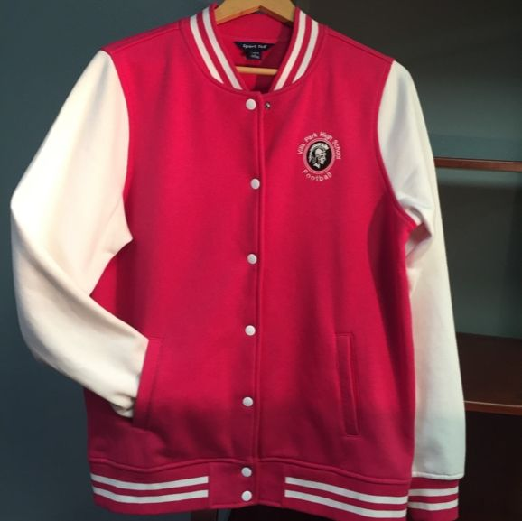Embroidered letterman's sweatshirt. A new twist on a classic! #embroidery #letterman #kustomimprints #customApparel
