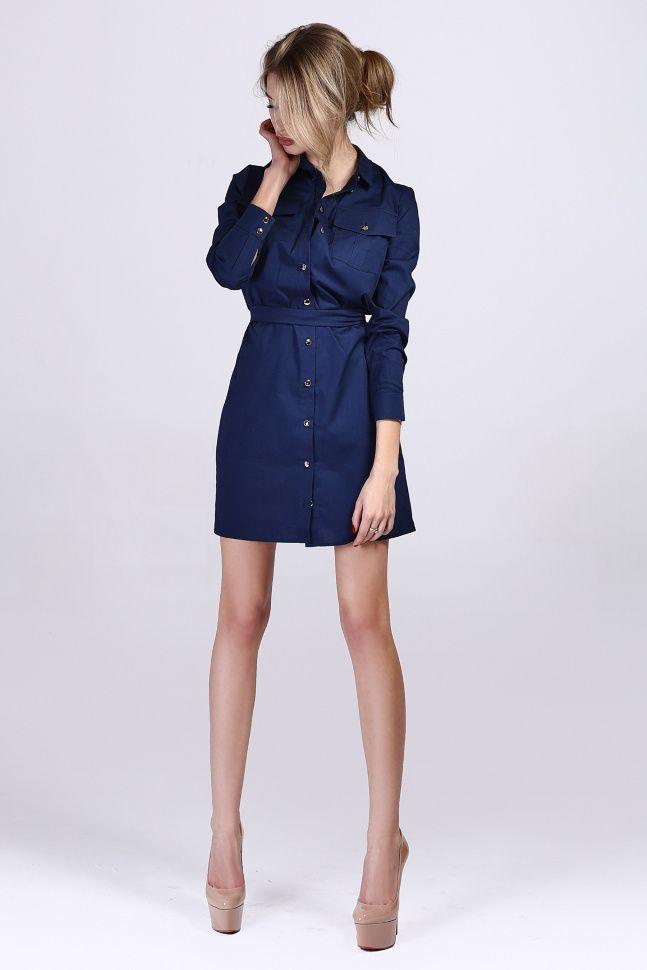 Платье-рубашка джинсовая