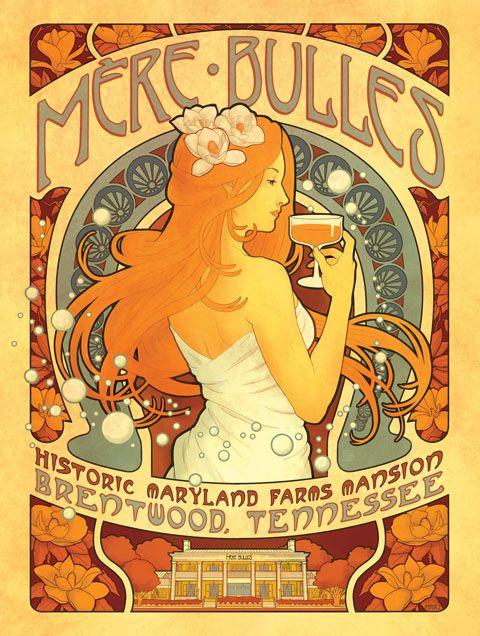 Mère Bulles Art Nouveau Poster Design